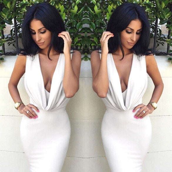 Women Cowl Neck Sleeveless Slim Fit Bodycon Party Dress