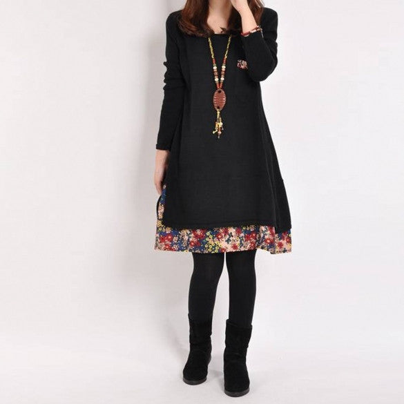 Women Long Sleeve O Neck Patchwork Fleece Mini Straight Dress
