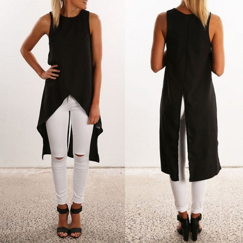 Casual Chiffon Sleeveless Irregular Loose Long Tank Top Blouse
