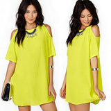 Women Off Shoulder Chiffon Loose Casual Mini Dress