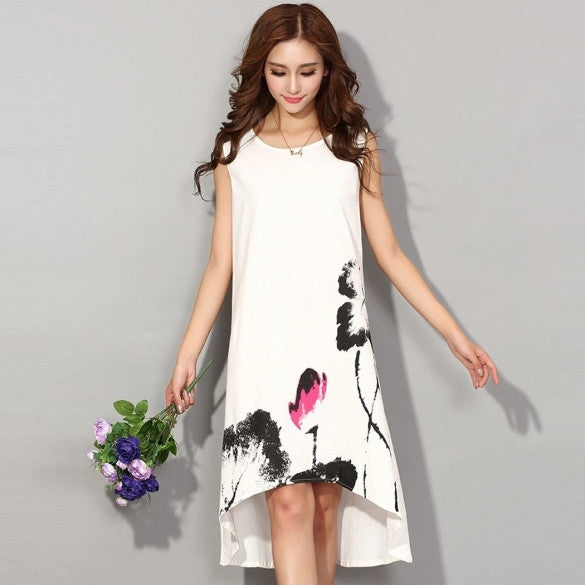 Casual Boho Style Sleeveless Irregular Print Loose Tank Dress