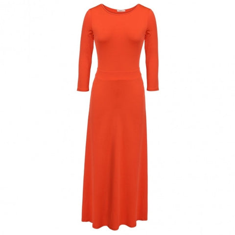 3/4 Sleeve High Waist Maxi Dress Pure Color Slim Casual Party Banquet Long Dress