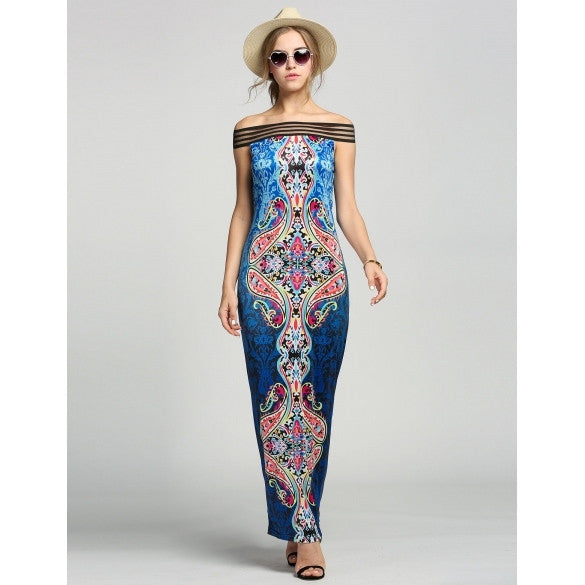 New Fashion Women Sexy Off Shoulder Long Boho Style Maxi Print Beach Dress