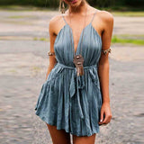 Sexy Women Spaghetti Strap Deep V-Neck Backless Mini Pleated Dress