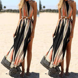 Bohemian Style Women Halter Cut Out Backless Side Slit Print Long Maxi Dress