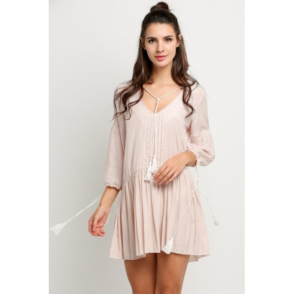Women Casual Deep V-Neck 3/4 Sleeve Solid Loose Mini Dress