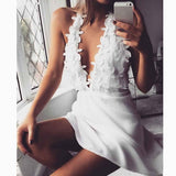 Sexy Women Halter Deep V-Neck Backless Applique A-Line Dress