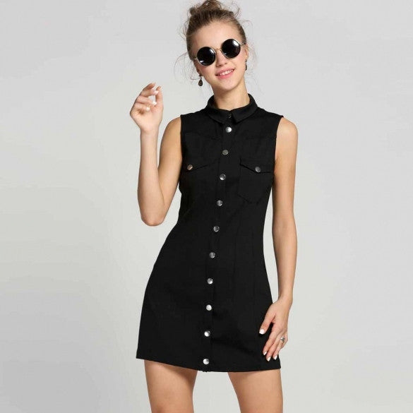 Women Sleeveless Slim Stretch A-Line Button Down Shirt Dress