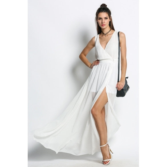 Fashion Women Deep V-Neck Sleeveless High Side Slit Maxi Long Party Dress