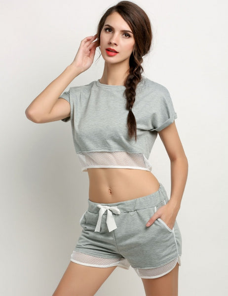 Women Mesh Patchwork Two Piece Set O-Neck Short Sleeve Crop Tops + Pocket Shorts