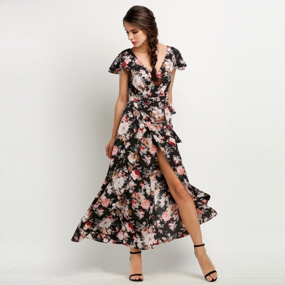 Women Fashion Deep V-Neck Floral Long Maxi Beach Swing Dress