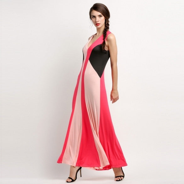 Fashion Women Deep V-Neck Sleeveless Patchwork Maxi Long Dress