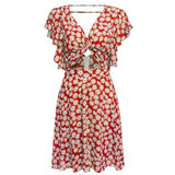 Fashion Women Short Sleeve Summer Floral Print Mini Dress
