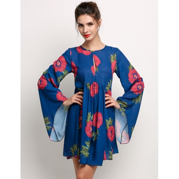 Ethnic Style Women Long Flare Sleeve Floral Print Casual Mini Dress