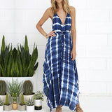 Fashion Women Deep V-Neck Print Backless Side Slit Maxi Beach Dress