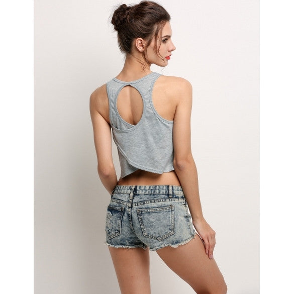 Fashion Women O Neck Casual Back Hollow Crop Tops Camisole Gray