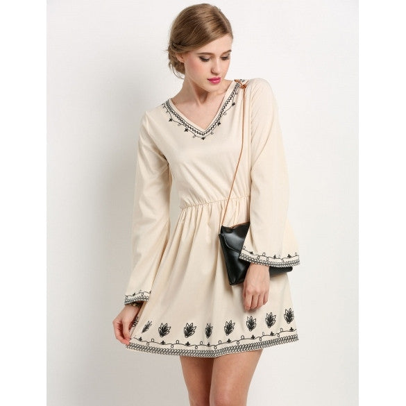 Fashion Women Flare Long Sleeve V-Neck Print Flare Slim Mini Dress
