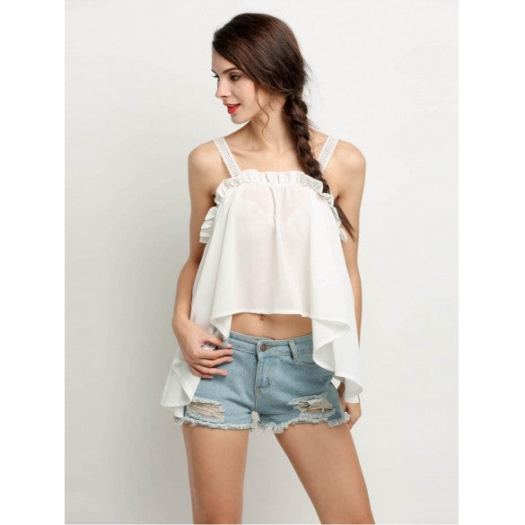 Fashion Women Hollow Lace Chiffon Patchwork Irregular Hem Loose Tank Tops