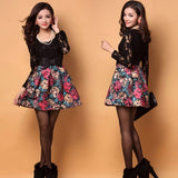 Elegant Women's Ladies Painting Flowers Pattern Lace Splicing Dress With Belt