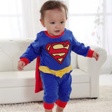 5pcs/lot Wholesale Baby Romper Superman Long Sleeve Baby Dress Smock Infant Romper Halloween Costume Gift