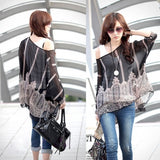 Fashion Sexy Women Batwing Dolman Sleeve Chiffon Shirt Bohemian Tops Blouse Black L XL