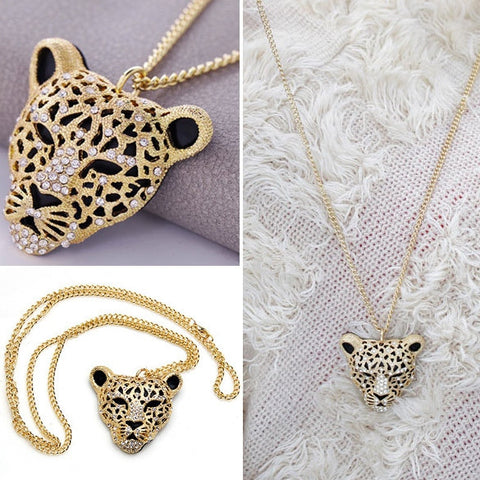Fashion Rhinsetone Leopard Head With Pendant Necklace Tiger Head Pendant Long Sweater Chain