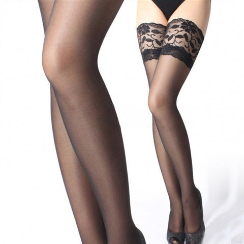 30D Sexy Womens Sheer Lace Top Silicone Band Stay Up Thigh High Stockings Pantyhose