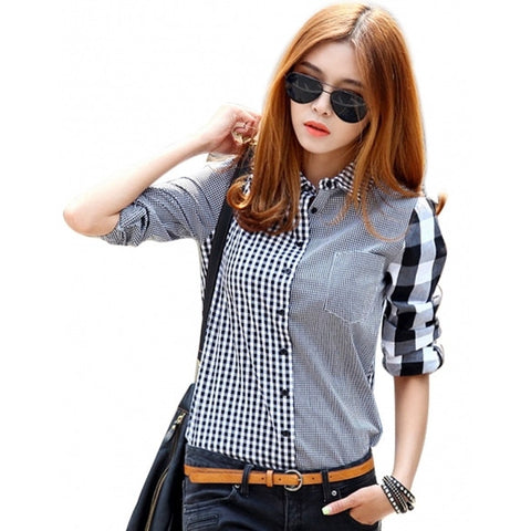 Button Down Shirt For Women Casual Lapel Shirt Long Sleeve Plaids Checks Shirt Top Blouse