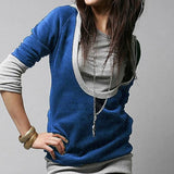 Fashion New Korea Women's Style Faux Hooded Top Hoodie Long T-shirt U Neck