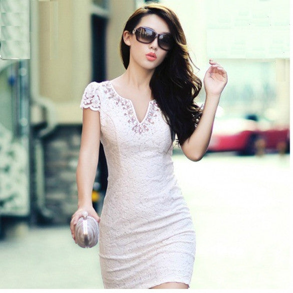 Fashion Temperament OL V-neck Drill Package Hip Sexy Cocktail Mini Dress