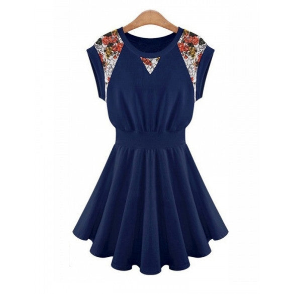 Fashion Round Neck Lace Patchwork Cap Sleeve Mini Pleated Dress