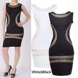 Fashion New Women's Stripe Print Sleeveless Ladies Bodycon Party Evening Dress