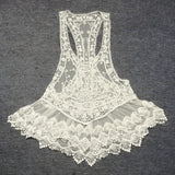 2 Colors Women Sexy Lace Crochet Hollow Swimwear Bikini Beach Dress Vest GT56