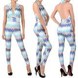 Colorful Stripe Deep V-neck Jumpsuits Club Bandage Bodycon Dresses For Women