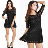 Fashion Women's Ladies Elegant Sexy Round Neck Half Sleeve Lace Dress