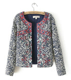 High Quality Women Vintage Ethnic Embroidered Floral Print Quilted Coat Jacket Cardigan