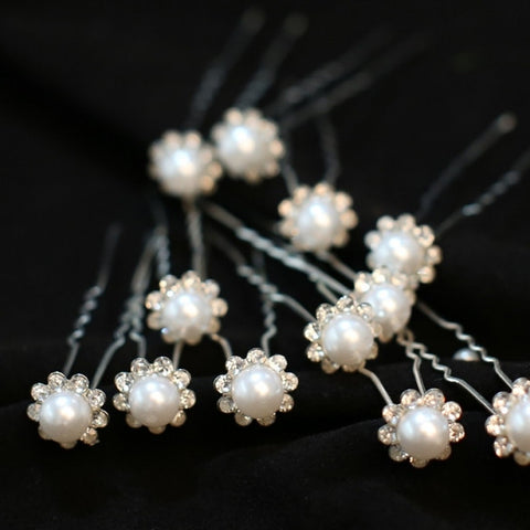 693534ae8c Elegent Wedding Bridal Clear Pearl Flower Hair Pins Clips U Bridesmaid 20Pcs