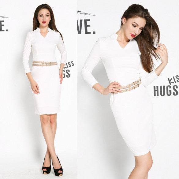 Fashion New Women's Celeb Belted V-Neck Tunic Clubwear Party Fitted Bodycon Pencil Midi Dress