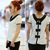 Applied 1PC Fashion Women Casual Lace Chiffon Pan Collar T-Shirt Blouse Top