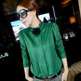 Fashion Lady Women Slim Fit Solid High Collar Long Sleeve Tops Blouse