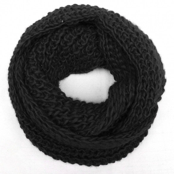 Fashion Women Winter Warm 2 Circle Cable Knitted Cowl Neck Scarf