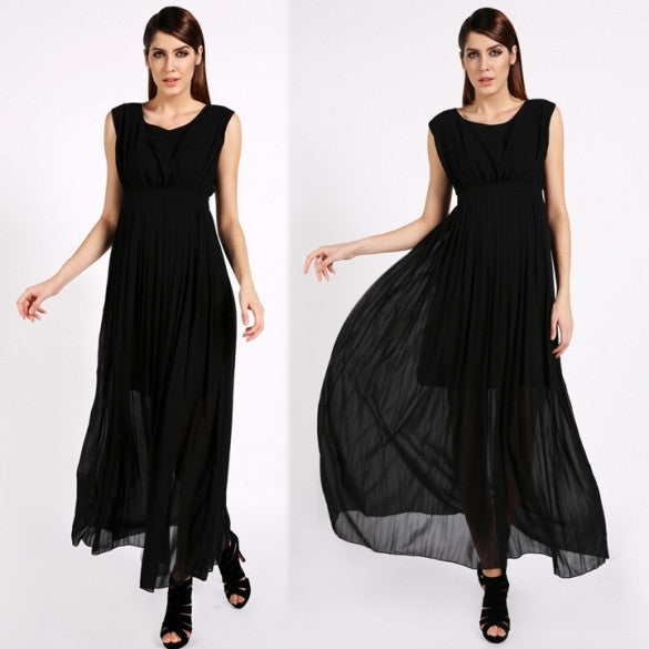 New Womenâ??s Fashion Long Chiffon Evening Prom Party Gown Beach Dress