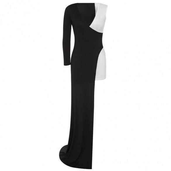New Women Ladies Fashion Black White Sexy Long-sleeve V-neck Slit Dress Evening Gown