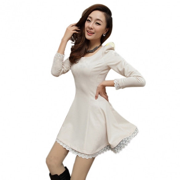 New Women's Slim Elegant Lace Patchwork Dress O-Neck Long Sleeve Dress Party Sexy Dress