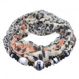 5 Colors New Fashion Women Leopard Scarf Linen All-match Long Scarf With Bead