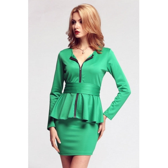 New Fashion Women's Sexy Long Sleeve Tunic Ruffles Two Pieces Set Top+Skirt Slim Mini Dress