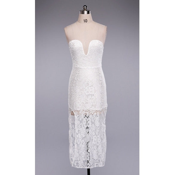 European Autumn Fashion Sexy White Lace Dress
