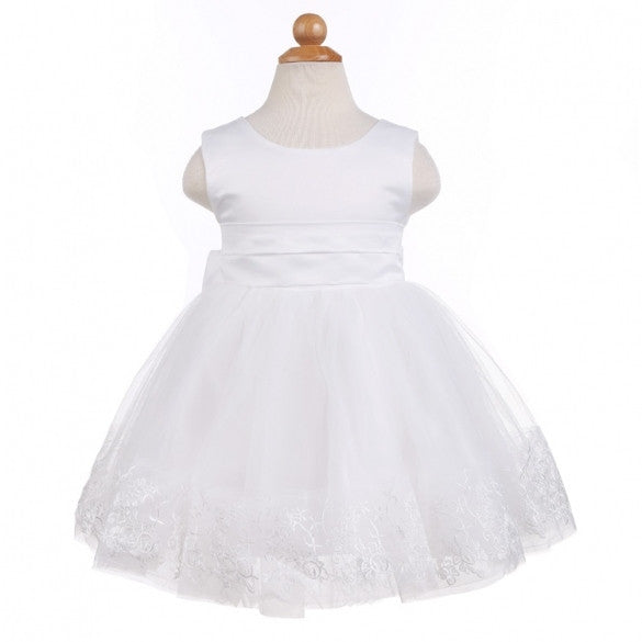 Fashion NewFashion Baby Girls Sleeveless O-Neck High Waist Party Dress Bow Ball Gown Flower Girl Dress