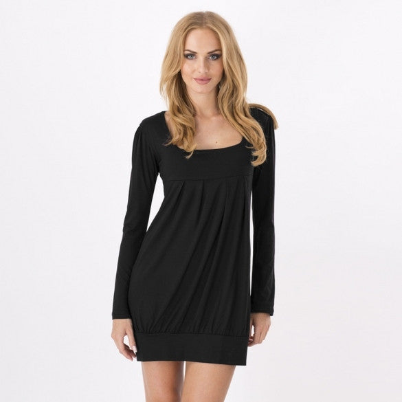 New Gorgeous Women's Square Neck Tunic Long Sleeve Mini Dress