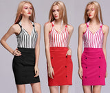 Women's Sexy Sleeveless V-Neck Striped Splicing Bodycon Party Casual Mini Dress + G-string